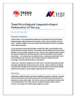 Endpoint Security Benchmark Testing Results from AV-Test org